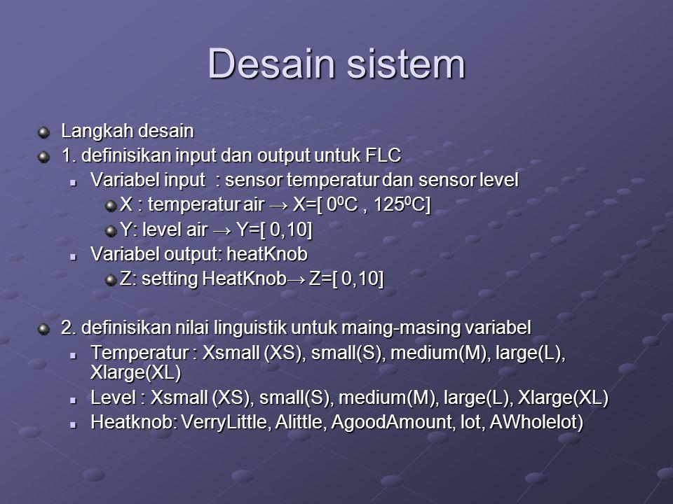 Desain sistem Langkah desain 1. definisikan input dan output untuk FLC  Variabel input : sensor temperatur dan sensor level X : temperatur air → X=[