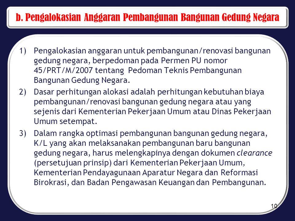 b. Pengalokasian Anggaran Pembangunan Bangunan Gedung Negara 1)Pengalokasian anggaran untuk pembangunan/renovasi bangunan gedung negara, berpedoman pa