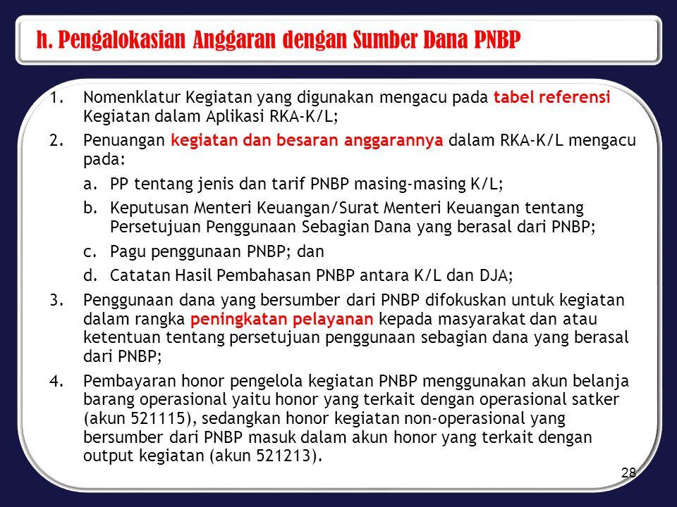 h. Pengalokasian Anggaran dengan Sumber Dana PNBP 1.Nomenklatur Kegiatan yang digunakan mengacu pada tabel referensi Kegiatan dalam Aplikasi RKA-K/L;