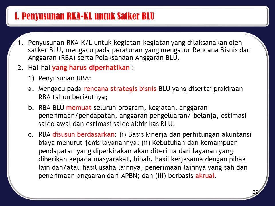 i. Penyusunan RKA-KL untuk Satker BLU 1.Penyusunan RKA-K/L untuk kegiatan-kegiatan yang dilaksanakan oleh satker BLU, mengacu pada peraturan yang meng