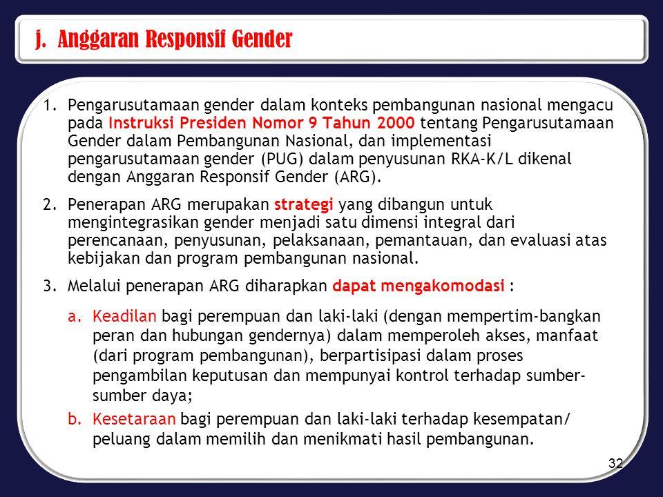 j. Anggaran Responsif Gender 1.Pengarusutamaan gender dalam konteks pembangunan nasional mengacu pada Instruksi Presiden Nomor 9 Tahun 2000 tentang Pe