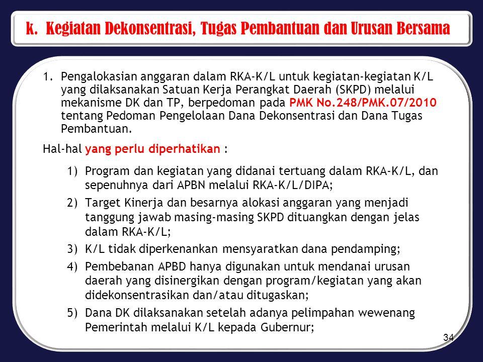 k. Kegiatan Dekonsentrasi, Tugas Pembantuan dan Urusan Bersama 1.Pengalokasian anggaran dalam RKA-K/L untuk kegiatan-kegiatan K/L yang dilaksanakan Sa