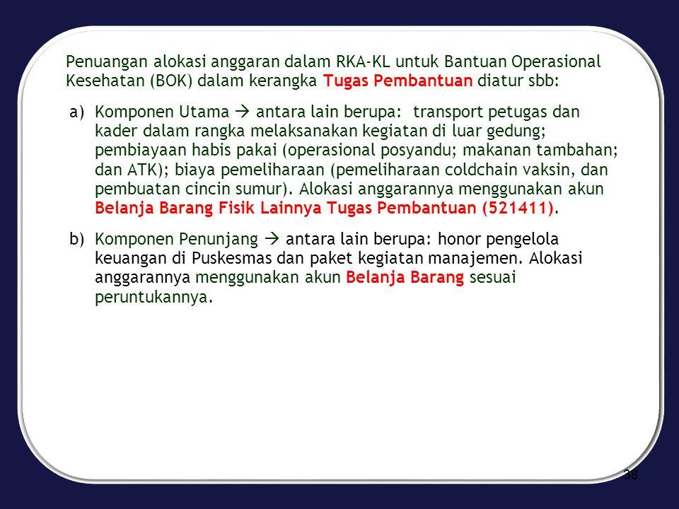Penuangan alokasi anggaran dalam RKA-KL untuk Bantuan Operasional Kesehatan (BOK) dalam kerangka Tugas Pembantuan diatur sbb: a)Komponen Utama  antar