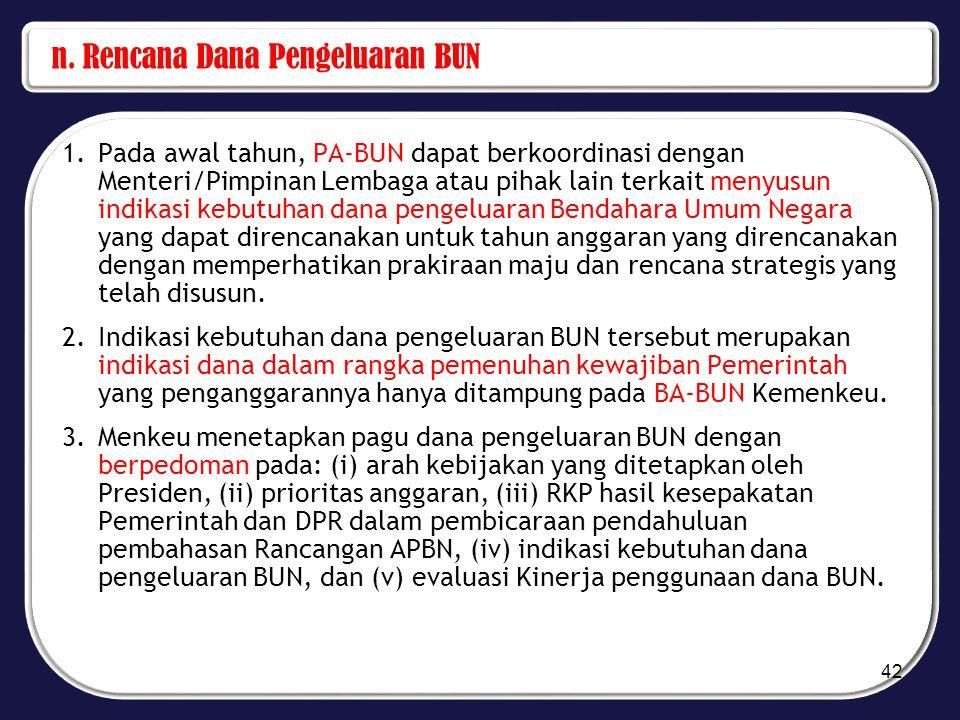 n. Rencana Dana Pengeluaran BUN 1.Pada awal tahun, PA-BUN dapat berkoordinasi dengan Menteri/Pimpinan Lembaga atau pihak lain terkait menyusun indikas