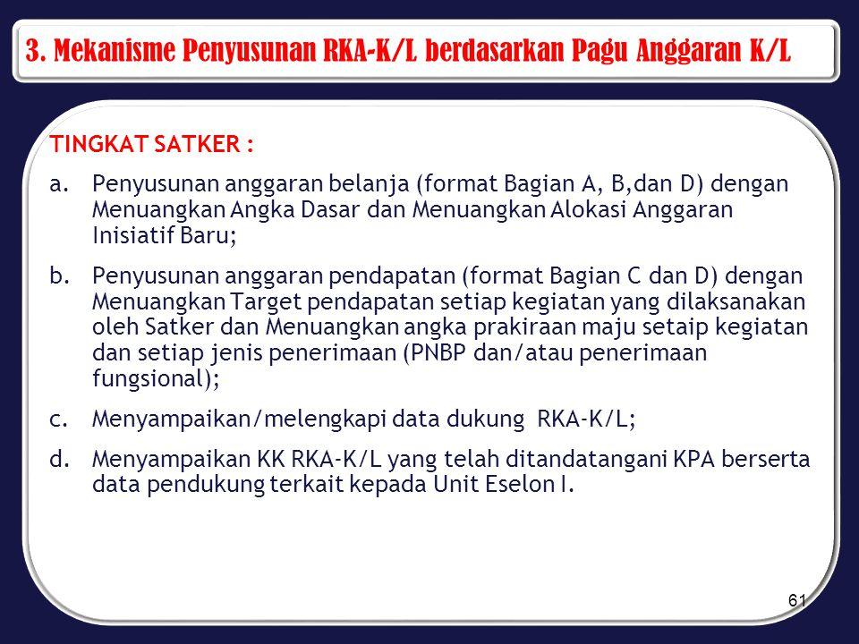 3. Mekanisme Penyusunan RKA-K/L berdasarkan Pagu Anggaran K/L TINGKAT SATKER : a.Penyusunan anggaran belanja (format Bagian A, B,dan D) dengan Menuang