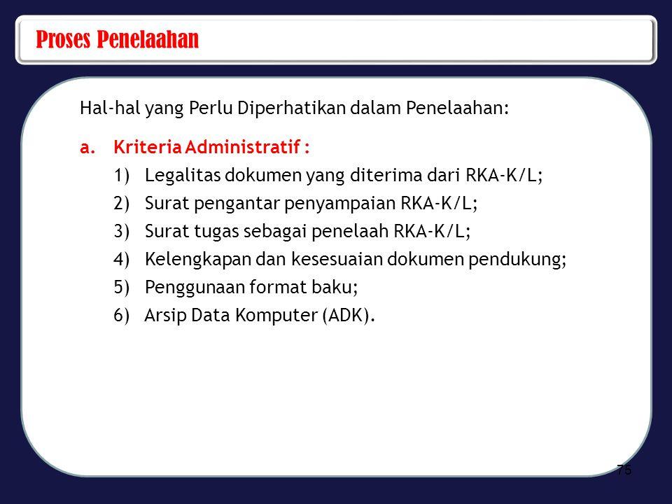 Proses Penelaahan Hal-hal yang Perlu Diperhatikan dalam Penelaahan: a.Kriteria Administratif : 1) Legalitas dokumen yang diterima dari RKA-K/L; 2) Sur