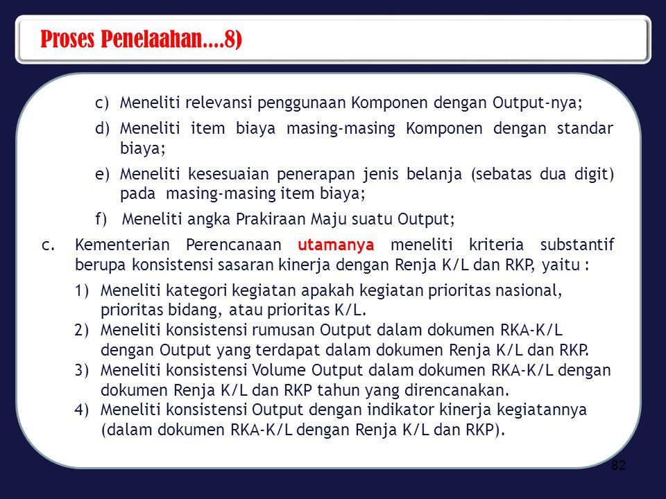 Proses Penelaahan....8) c)Meneliti relevansi penggunaan Komponen dengan Output-nya; d)Meneliti item biaya masing-masing Komponen dengan standar biaya;