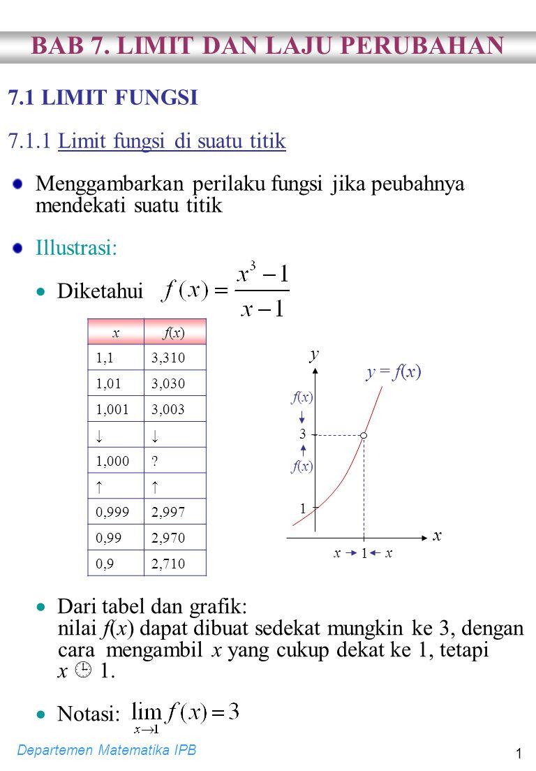 Departemen Matematika IPB 2 Definisi: [Limit fungsi di suatu titik] Misalkan fungsi f terdefinisi pada selang terbuka I yang memuat a, kecuali mungkin di a.
