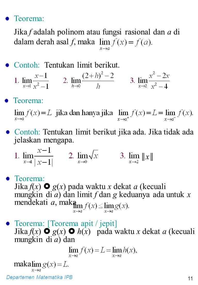 Departemen Matematika IPB 11 Contoh: Tentukan limit berikut. Teorema: Contoh: Tentukan limit berikut jika ada. Jika tidak ada jelaskan mengapa. ║x║║x║
