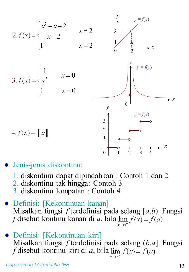 Departemen Matematika IPB 13 y y = f(x) 0 x ║x║║x║ 0123 1 2 3 x y 4 Jenis-jenis diskontinu: 1. diskontinu dapat dipindahkan : Contoh 1 dan 2 2. diskon