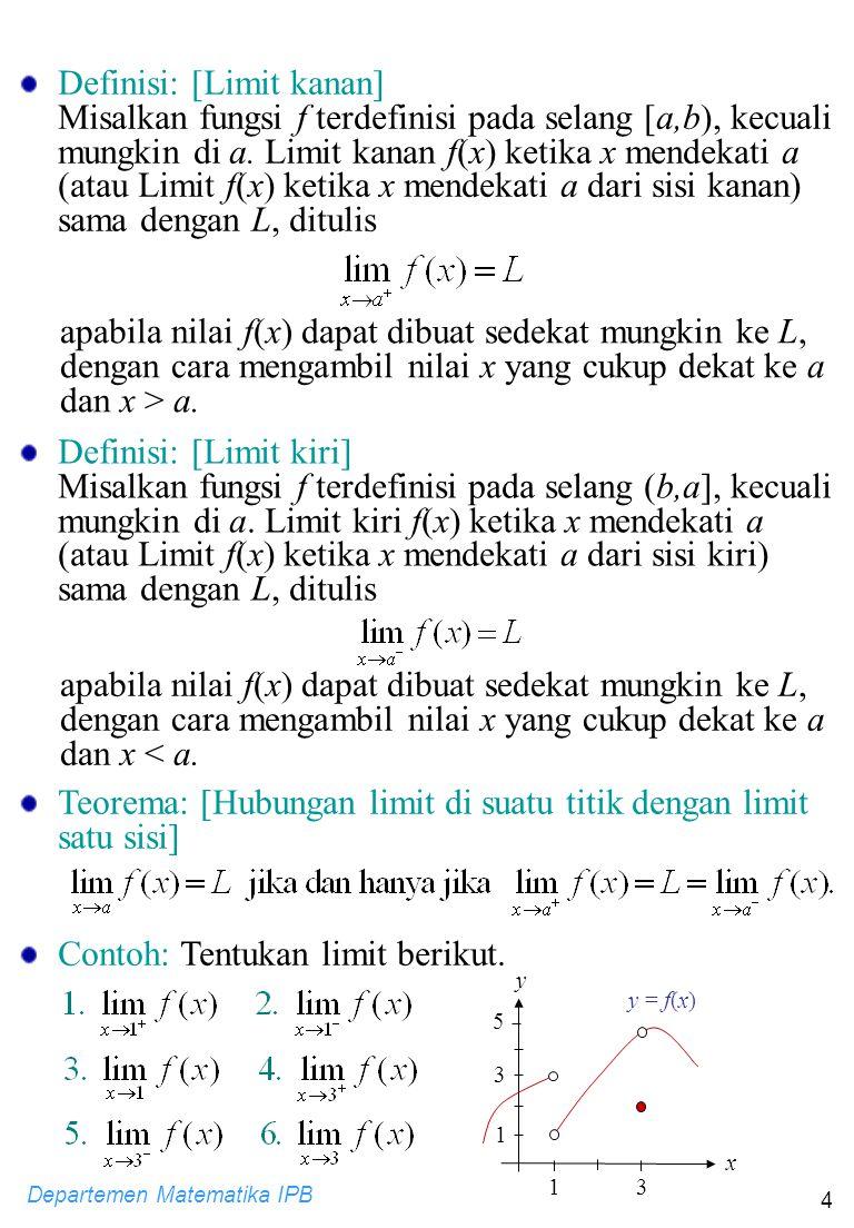 Departemen Matematika IPB 4 Definisi: [Limit kanan] Misalkan fungsi f terdefinisi pada selang [a,b), kecuali mungkin di a. Limit kanan f(x) ketika x m
