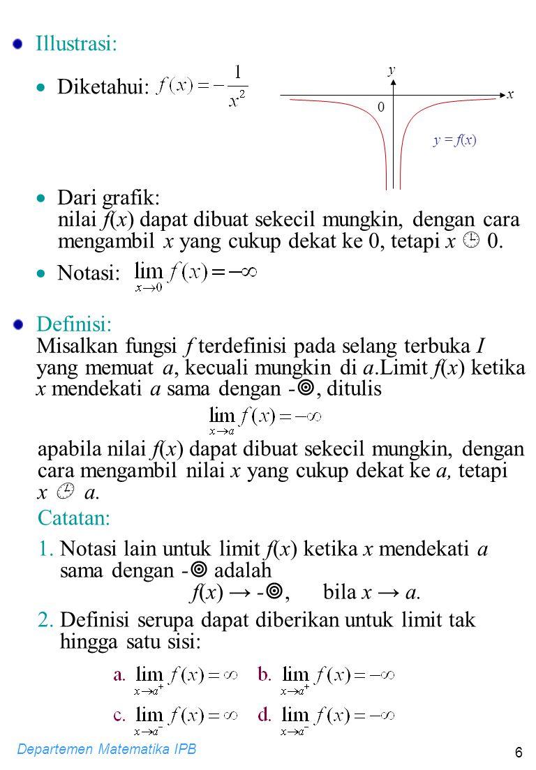 Departemen Matematika IPB 6 Illustrasi:  Diketahui: y y = f(x) 0 x  Dari grafik: nilai f(x) dapat dibuat sekecil mungkin, dengan cara mengambil x ya