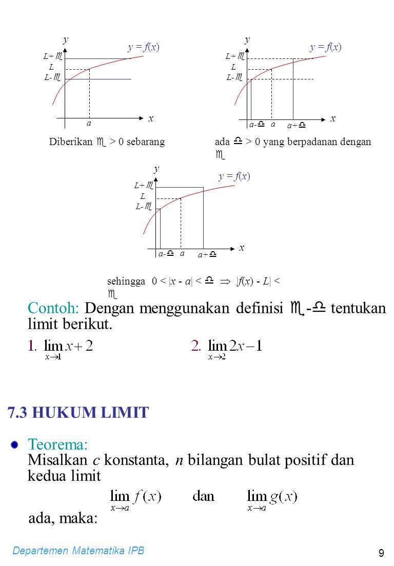 Departemen Matematika IPB 9 y y = f(x) a L x Diberikan  > 0 sebarang L+  L-  y y = f(x) a L x ada  > 0 yang berpadanan dengan  L+  L-  a+  a-