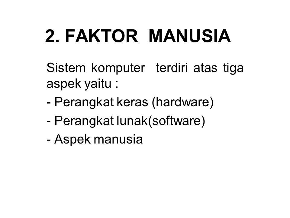 2. FAKTOR MANUSIA Sistem komputer terdiri atas tiga aspek yaitu : - Perangkat keras (hardware) - Perangkat lunak(software) - Aspek manusia