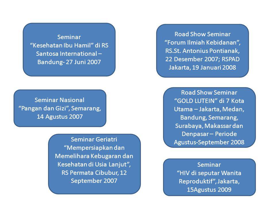 "Road Show Seminar ""GOLD LUTEIN"" di 7 Kota Utama – Jakarta, Medan, Bandung, Semarang, Surabaya, Makassar dan Denpasar – Periode Agustus-September 2008"