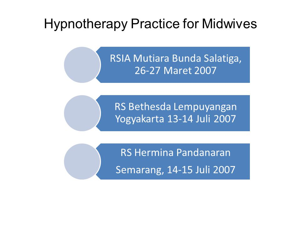Hypnotherapy Practice for Midwives RSIA Mutiara Bunda Salatiga, 26-27 Maret 2007 RS Bethesda Lempuyangan Yogyakarta 13-14 Juli 2007 RS Hermina Pandana