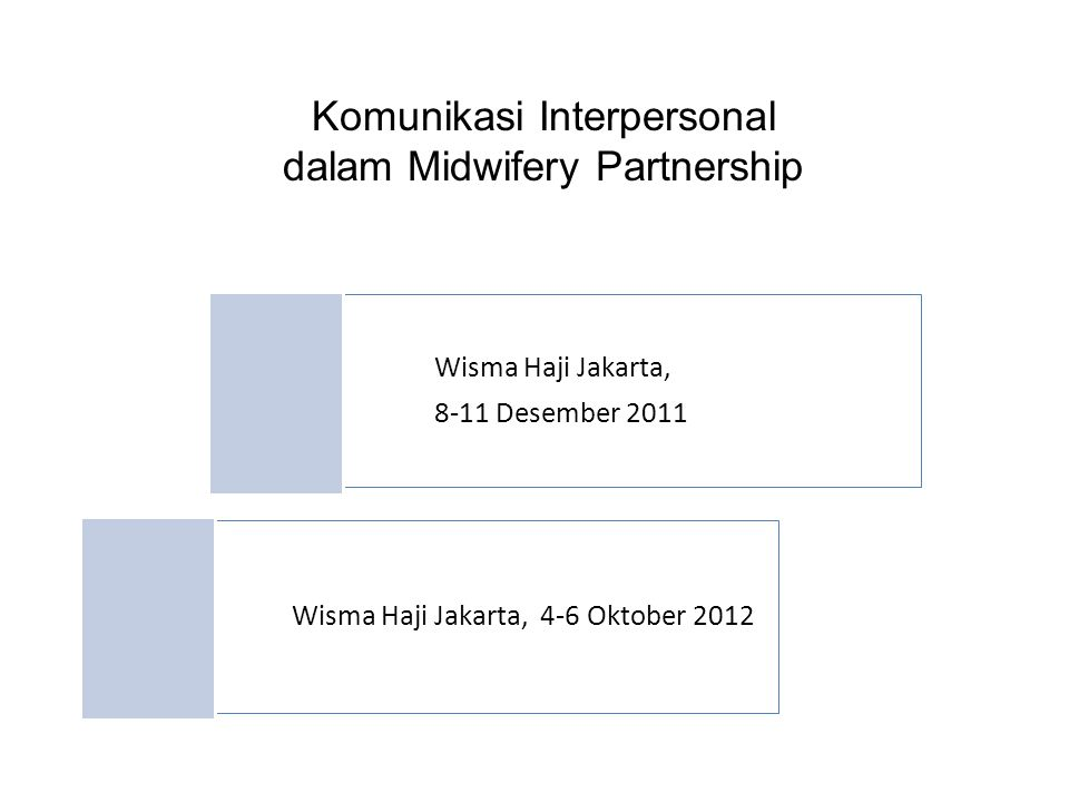 Komunikasi Interpersonal dalam Midwifery Partnership Wisma Haji Jakarta, 8-11 Desember 2011 Wisma Haji Jakarta, 4-6 Oktober 2012