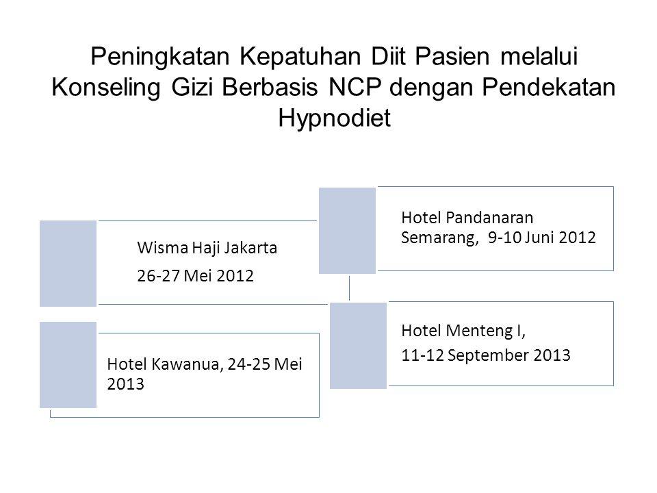 Peningkatan Kepatuhan Diit Pasien melalui Konseling Gizi Berbasis NCP dengan Pendekatan Hypnodiet Wisma Haji Jakarta 26-27 Mei 2012 Hotel Pandanaran S