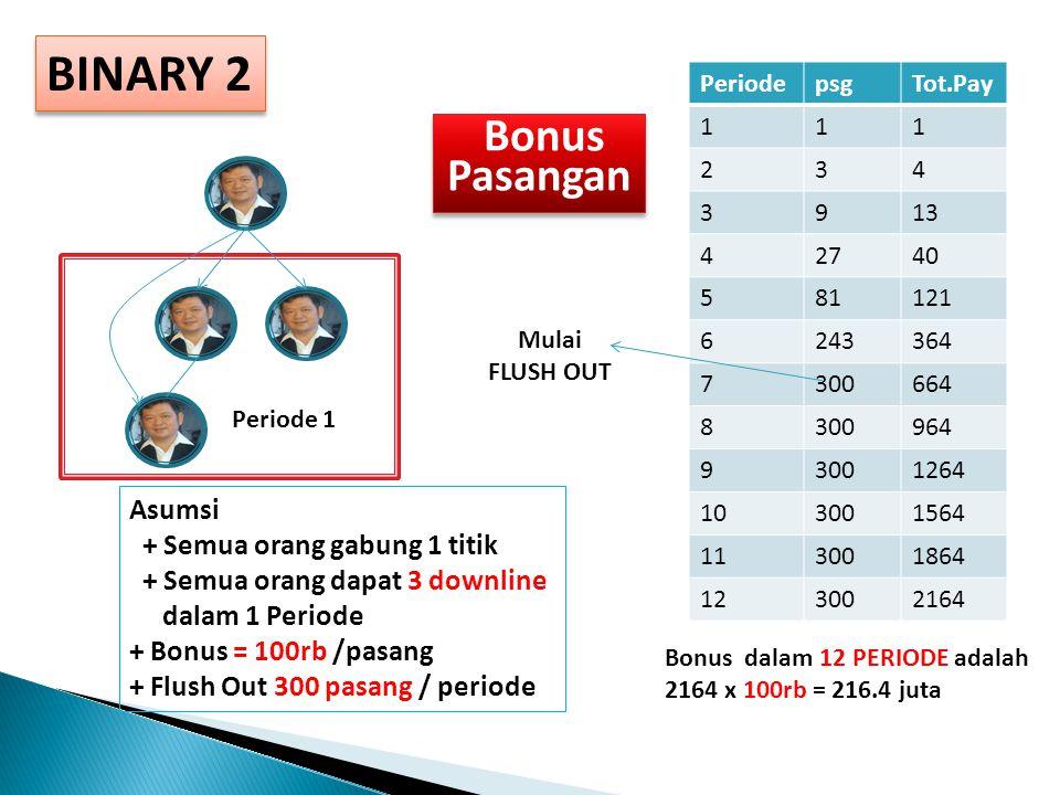 BINARY Asumsi + Semua orang gabung 3 titik + Semua orang dapat 4 downline dalam 1 Periode + Bonus = 1 juta /Pasang (Level) Peri ode U1U2+ U3 PayTot. P