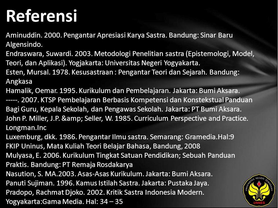 Referensi Aminuddin.2000. Pengantar Apresiasi Karya Sastra.