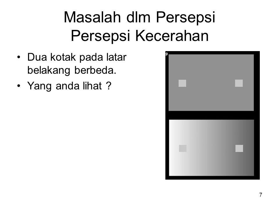 7 Masalah dlm Persepsi Persepsi Kecerahan •Dua kotak pada latar belakang berbeda.