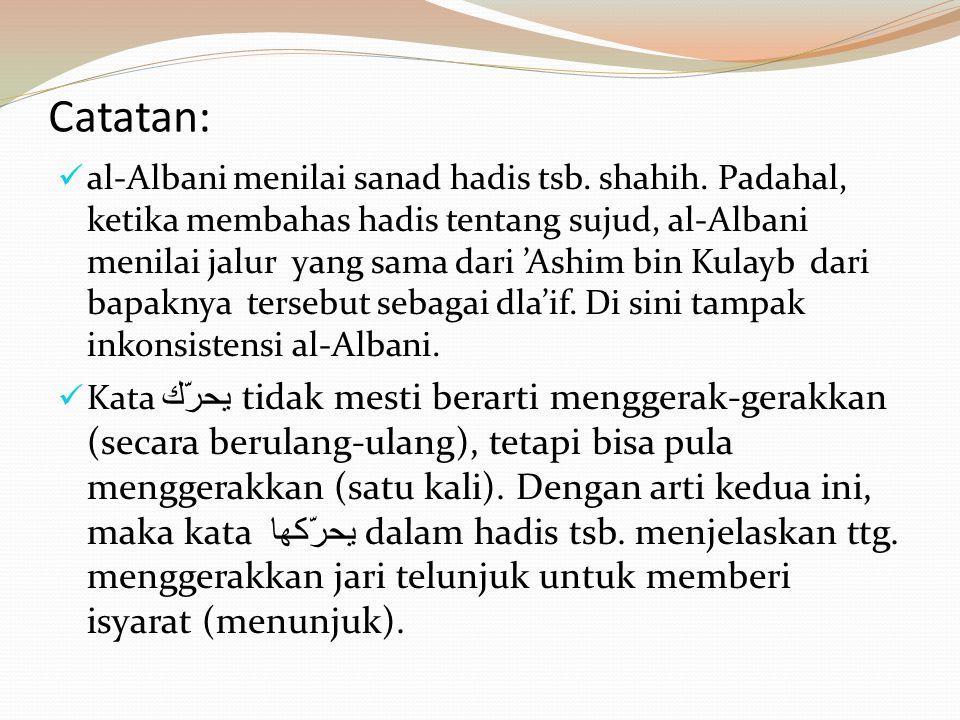 Catatan:  al-Albani menilai sanad hadis tsb. shahih. Padahal, ketika membahas hadis tentang sujud, al-Albani menilai jalur yang sama dari 'Ashim bin