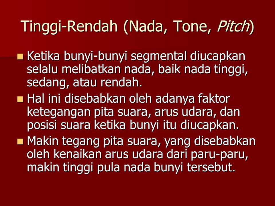 Tinggi-Rendah (Nada, Tone, Pitch)  Ketika bunyi-bunyi segmental diucapkan selalu melibatkan nada, baik nada tinggi, sedang, atau rendah.  Hal ini di