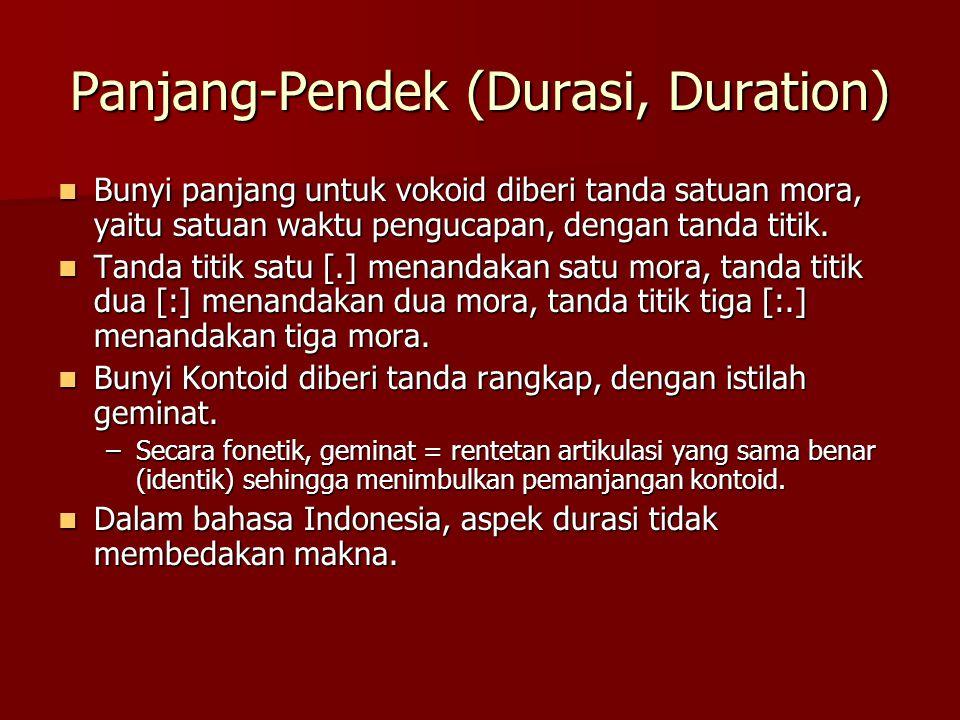 Panjang-Pendek (Durasi, Duration)  Bunyi panjang untuk vokoid diberi tanda satuan mora, yaitu satuan waktu pengucapan, dengan tanda titik.  Tanda ti