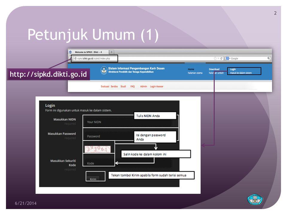 Petunjuk Umum (2)  Tampilan menu setelah login  Form SIPKD diisi setiap tahun.