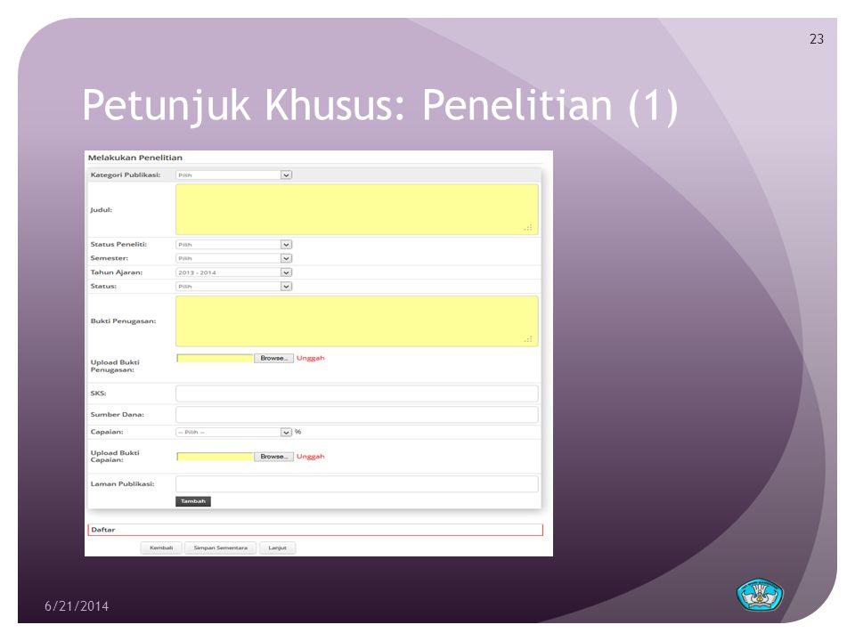 Petunjuk Khusus: Penelitian (1) 6/21/2014 23