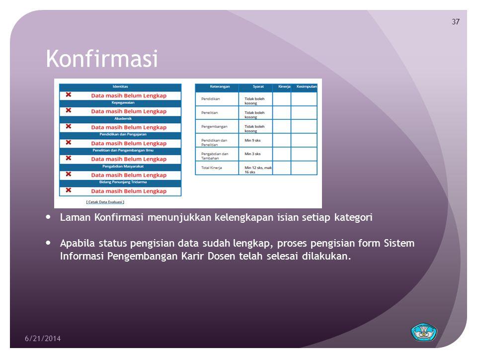 Konfirmasi  Laman Konfirmasi menunjukkan kelengkapan isian setiap kategori  Apabila status pengisian data sudah lengkap, proses pengisian form Siste