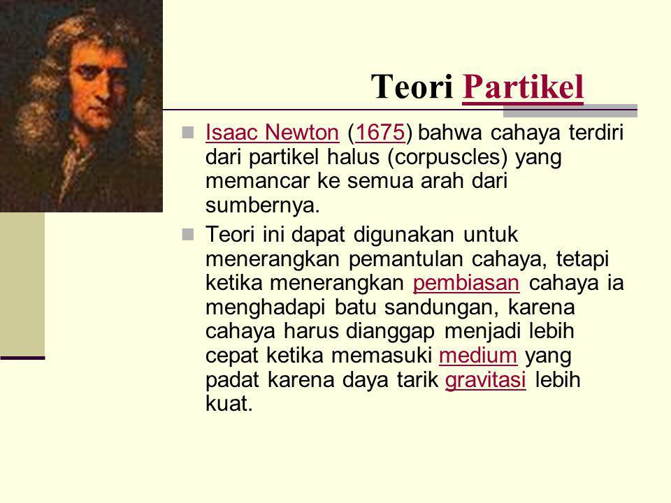 Teori PartikelPartikel  Isaac Newton (1675) bahwa cahaya terdiri dari partikel halus (corpuscles) yang memancar ke semua arah dari sumbernya. Isaac N