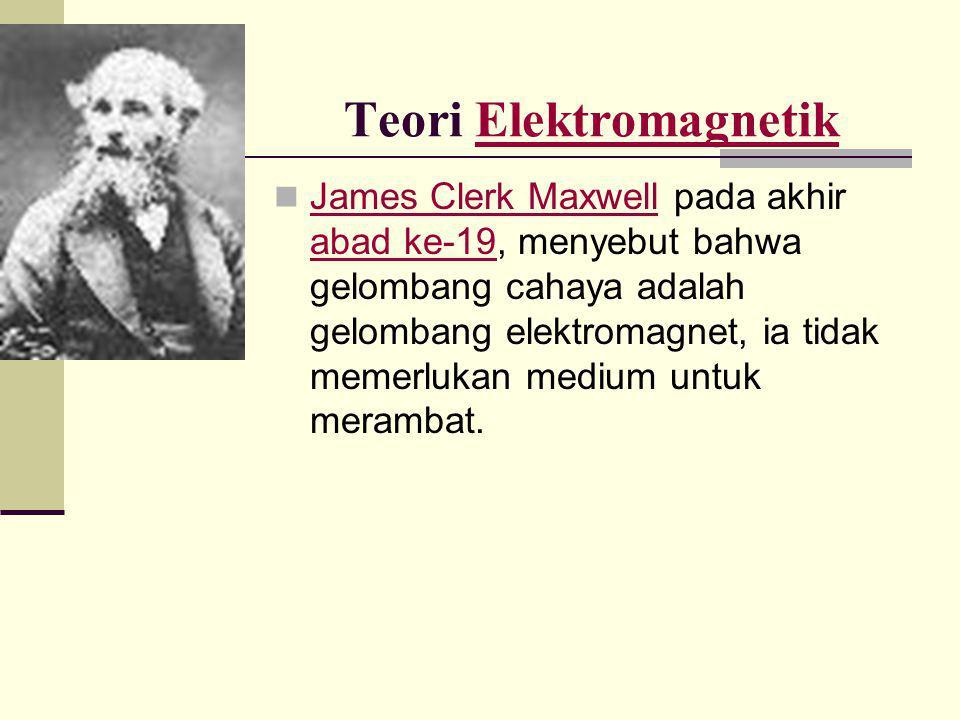 Teori ElektromagnetikElektromagnetik  James Clerk Maxwell pada akhir abad ke-19, menyebut bahwa gelombang cahaya adalah gelombang elektromagnet, ia t