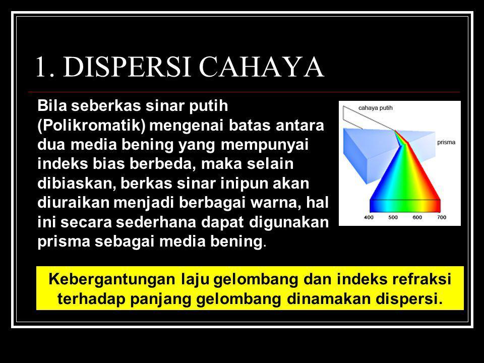 1. DISPERSI CAHAYA Bila seberkas sinar putih (Polikromatik) mengenai batas antara dua media bening yang mempunyai indeks bias berbeda, maka selain dib