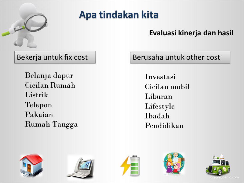 Apa tindakan kita Evaluasi kinerja dan hasil Berusaha untuk other cost Bekerja untuk fix cost Belanja dapur Cicilan Rumah Listrik Telepon Pakaian Ruma