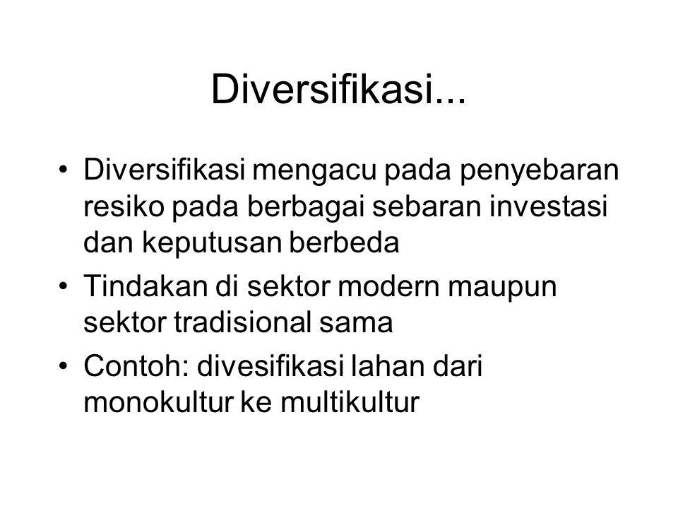 Diversifikasi... •Diversifikasi mengacu pada penyebaran resiko pada berbagai sebaran investasi dan keputusan berbeda •Tindakan di sektor modern maupun