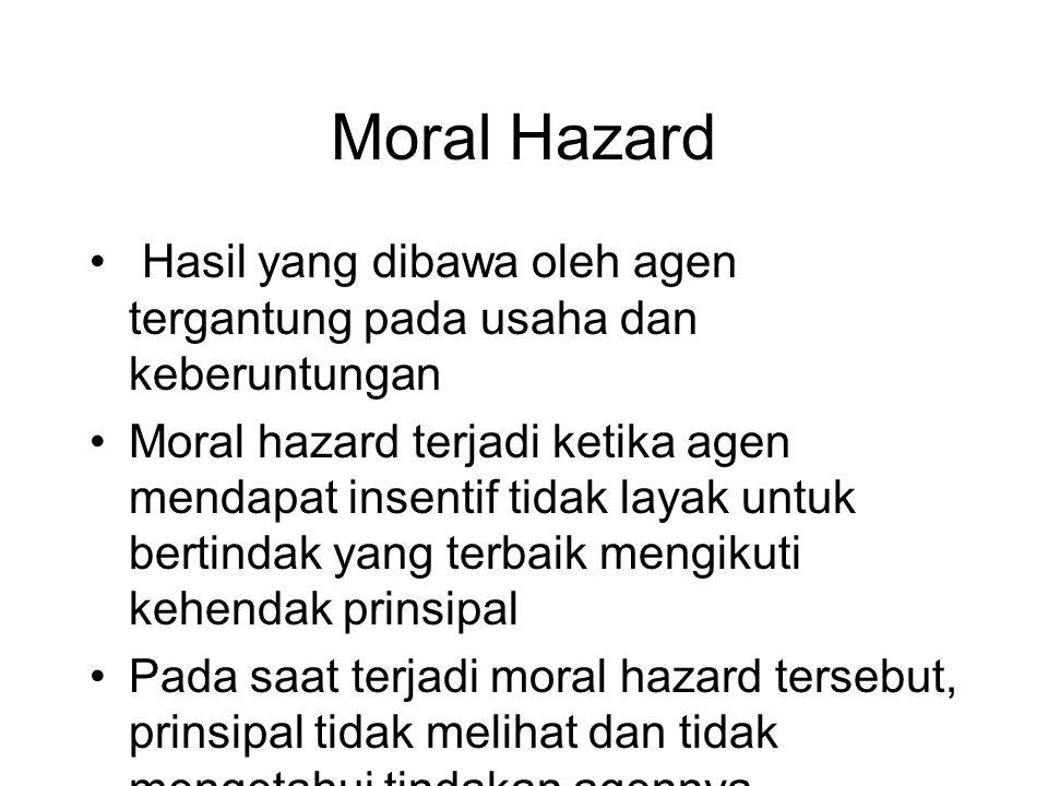 Moral Hazard • Hasil yang dibawa oleh agen tergantung pada usaha dan keberuntungan •Moral hazard terjadi ketika agen mendapat insentif tidak layak unt