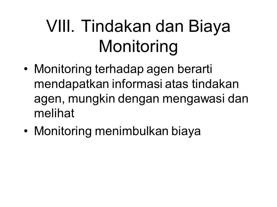 VIII. Tindakan dan Biaya Monitoring •Monitoring terhadap agen berarti mendapatkan informasi atas tindakan agen, mungkin dengan mengawasi dan melihat •