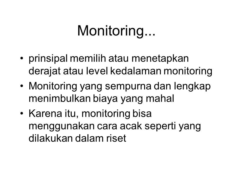 Monitoring... •prinsipal memilih atau menetapkan derajat atau level kedalaman monitoring •Monitoring yang sempurna dan lengkap menimbulkan biaya yang