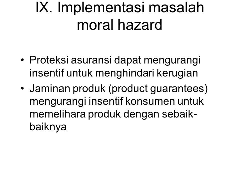 IX. Implementasi masalah moral hazard •Proteksi asuransi dapat mengurangi insentif untuk menghindari kerugian •Jaminan produk (product guarantees) men
