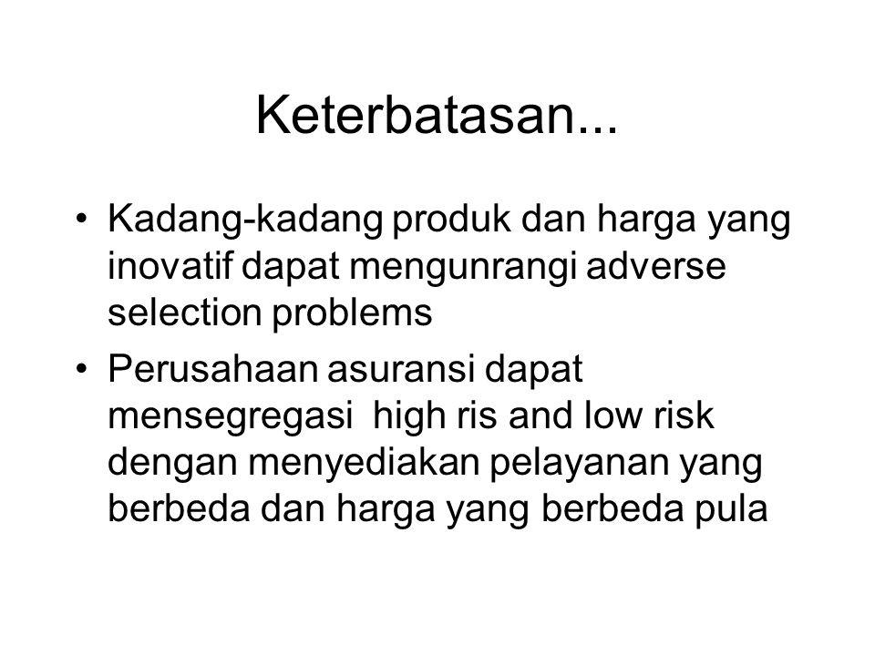Keterbatasan... •Kadang-kadang produk dan harga yang inovatif dapat mengunrangi adverse selection problems •Perusahaan asuransi dapat mensegregasi hig