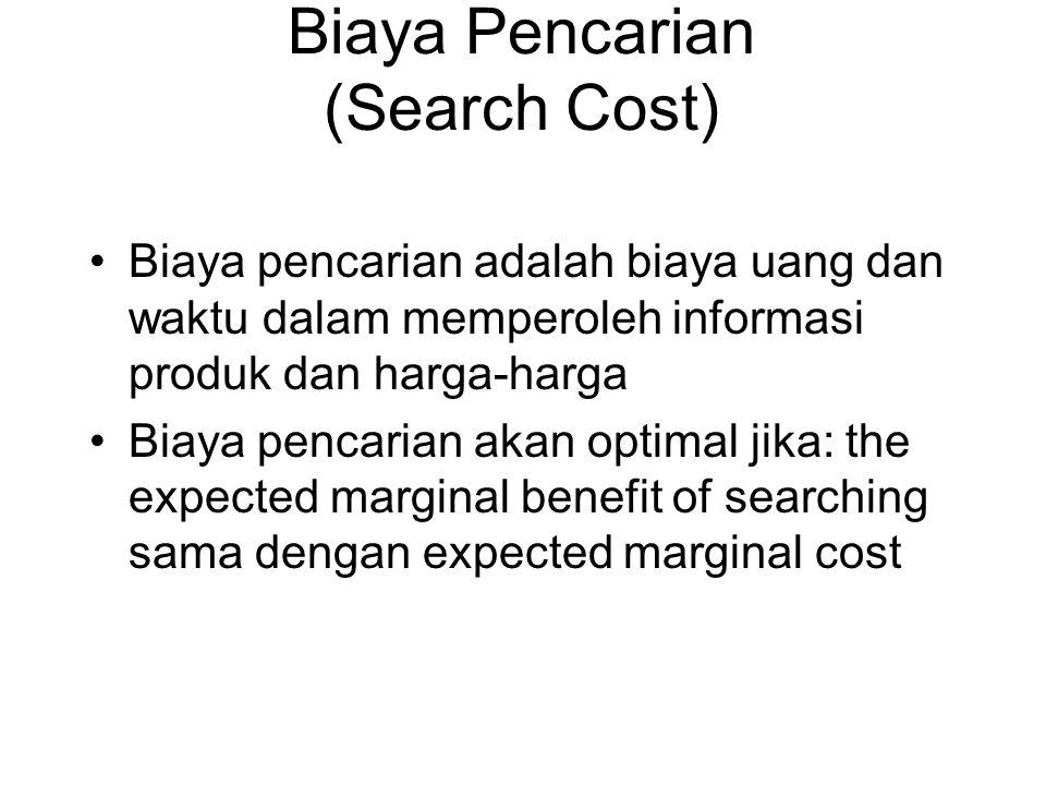 Biaya Pencarian (Search Cost) •Biaya pencarian adalah biaya uang dan waktu dalam memperoleh informasi produk dan harga-harga •Biaya pencarian akan opt