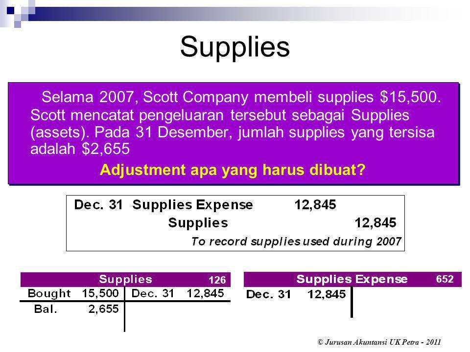 © Jurusan Akuntansi UK Petra - 2011 Supplies Selama 2007, Scott Company membeli supplies $15,500.