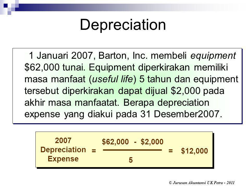 © Jurusan Akuntansi UK Petra - 2011 1 Januari 2007, Barton, Inc.