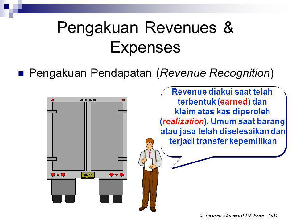 © Jurusan Akuntansi UK Petra - 2011 Revenue diakui saat telah terbentuk (earned) dan klaim atas kas diperoleh (realization).