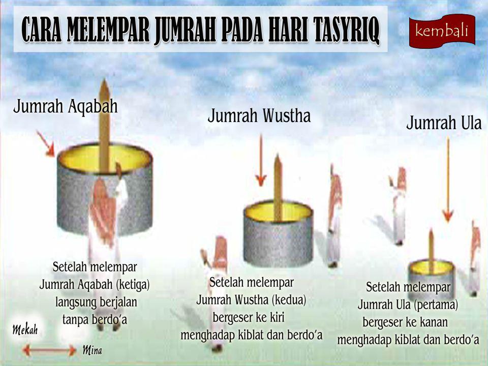 Amalan-amalan Tanggal 11 Dzulhijjah (Hari Tasyriq ke 1)  Ketika matahari tergelincir masuk waktu Dhuhur, baru diperbolehkan melempar tiga jumrah, yai