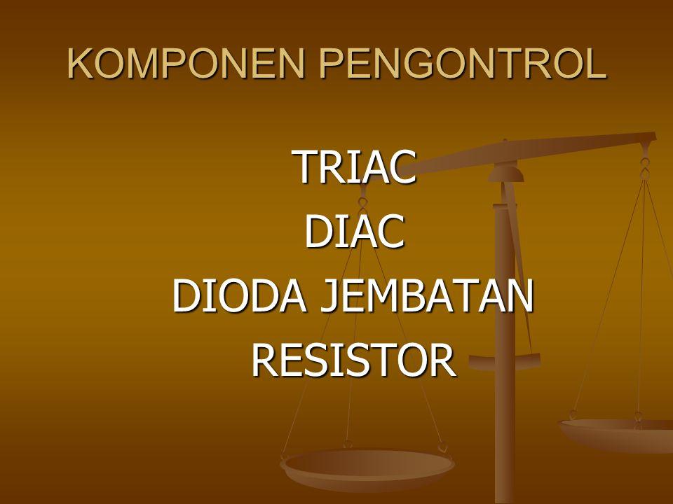 TRIAC TRIAC merupakan suatu alata elektronika yanga dianalogikan sebagai dua pasang thyristor yang dipasang antiparalel.