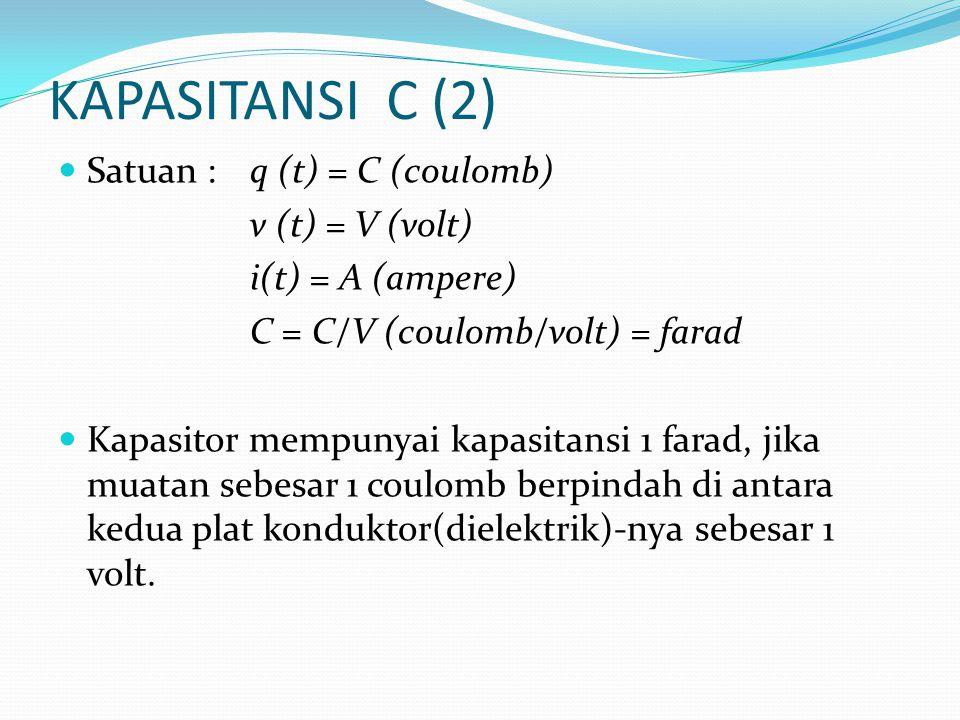 KAPASITANSI C (2)  Satuan :q (t) = C (coulomb) v (t) = V (volt) i(t) = A (ampere) C = C/V (coulomb/volt) = farad  Kapasitor mempunyai kapasitansi 1 farad, jika muatan sebesar 1 coulomb berpindah di antara kedua plat konduktor(dielektrik)-nya sebesar 1 volt.