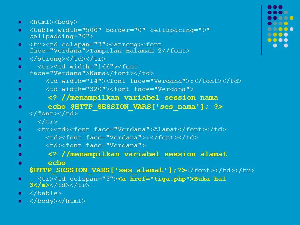   Tampilan Halaman 2   Nama  :   <? //menampilkan variabel session nama  echo $HTTP_SESSION_VARS['ses_nama']; ?>   Alamat  :   <? //menam
