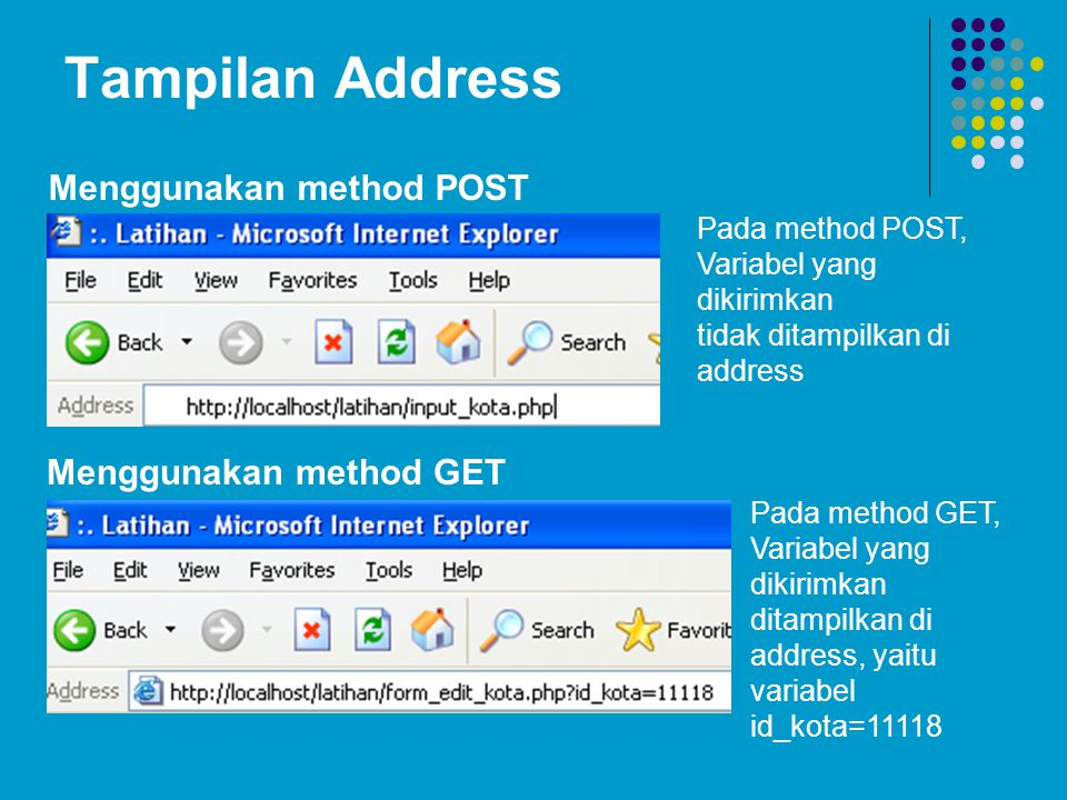 Tampilan Address Menggunakan method GET Menggunakan method POST Pada method POST, Variabel yang dikirimkan tidak ditampilkan di address Pada method GE
